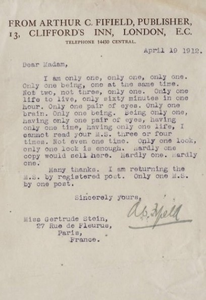 Reject letter to Gertrude Stein